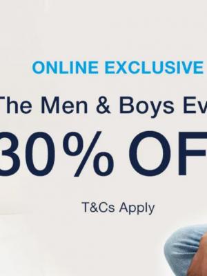 خصم 30% على ملابس الرجال والأدولاد